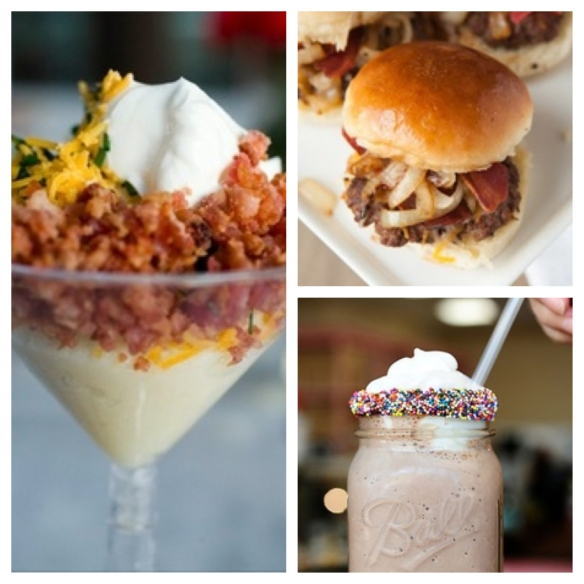 mashed potato martinis, beef sliders, and chocolate shake