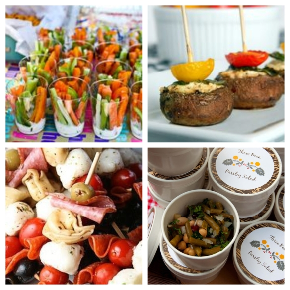 veggie cups, skewered snacks and salads